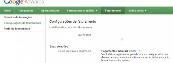 Como alterar a forma de pagamento do Google Adwords?