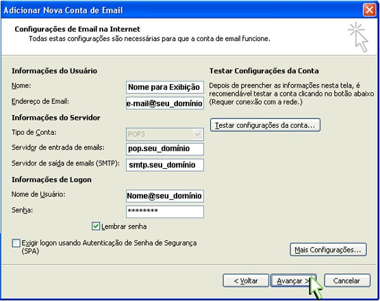 Configurando Outlook 2007 - Etapa 7