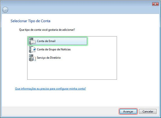 Configurando Windows Mail - Etapa 3