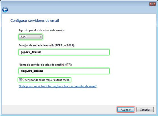 Configurando Windows Mail - Etapa 6