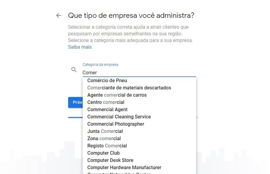 Categoria - Google Meu Negócio