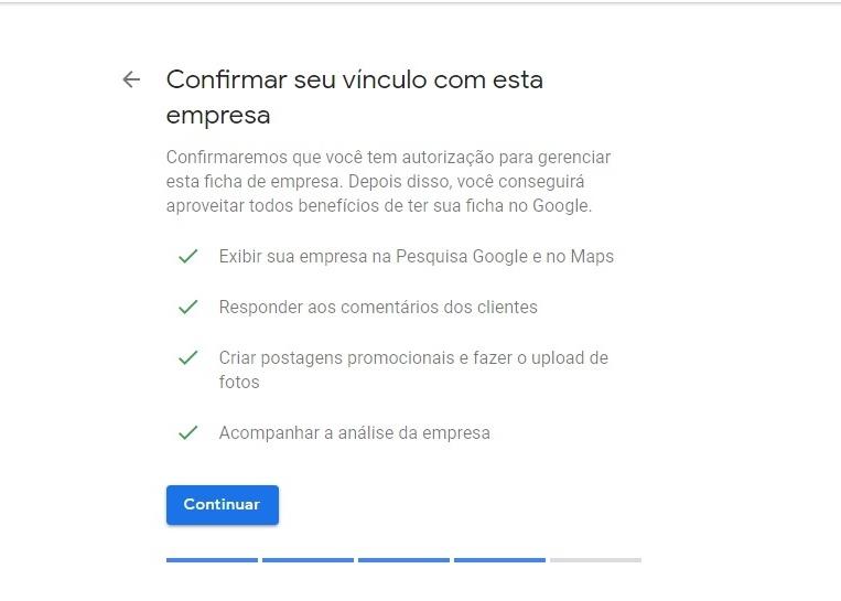 Confirmar vínculo - Google Meu Negócio