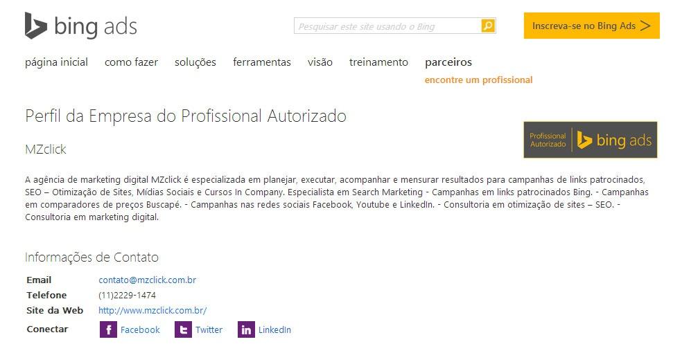 Agência certificada Bing