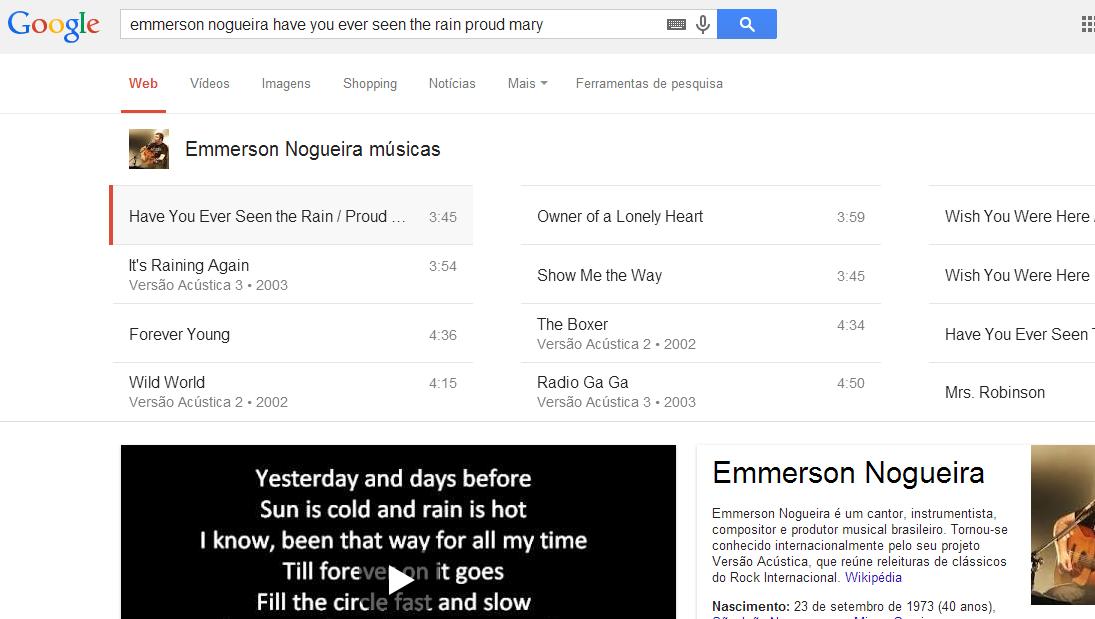 Busca envolvendo músicas no Google.