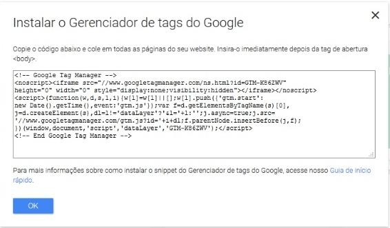 Código de Instalação Google Tag Manager