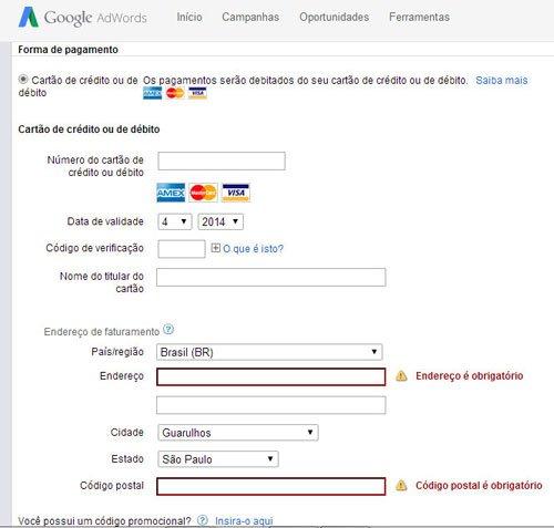Cadastrando o Cartão de Crédito no Google Adwords