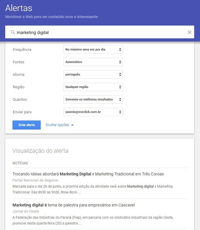 Criar um alerta no Google Alerts