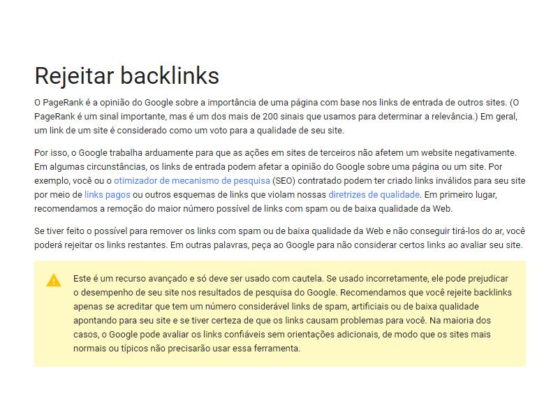 Google Disavow - Rejeitar Backlinks