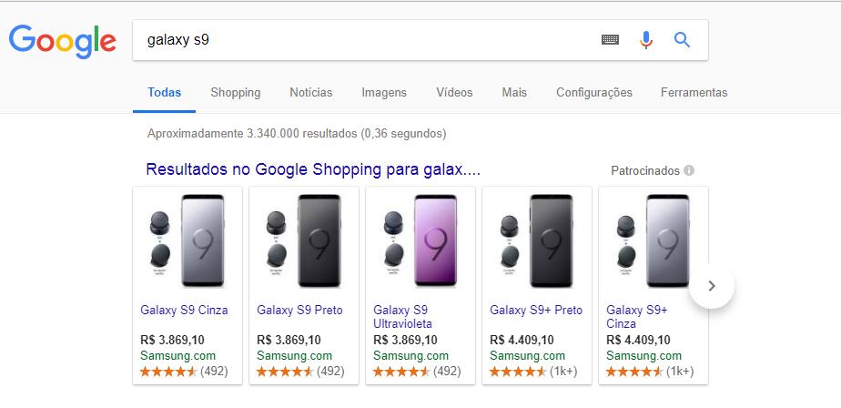 Exemplo de anúncios do Google Shopping na página de resultados de pesquisa do Google.