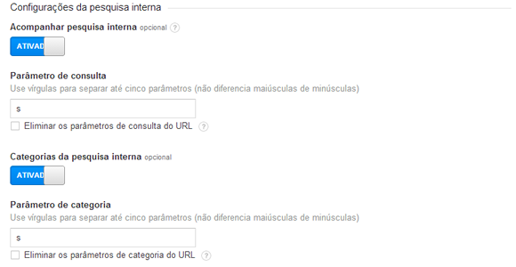 Relatório de Busca Interna do Google Analytics