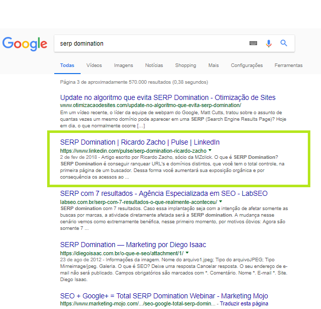 SERP domination LinkedIn