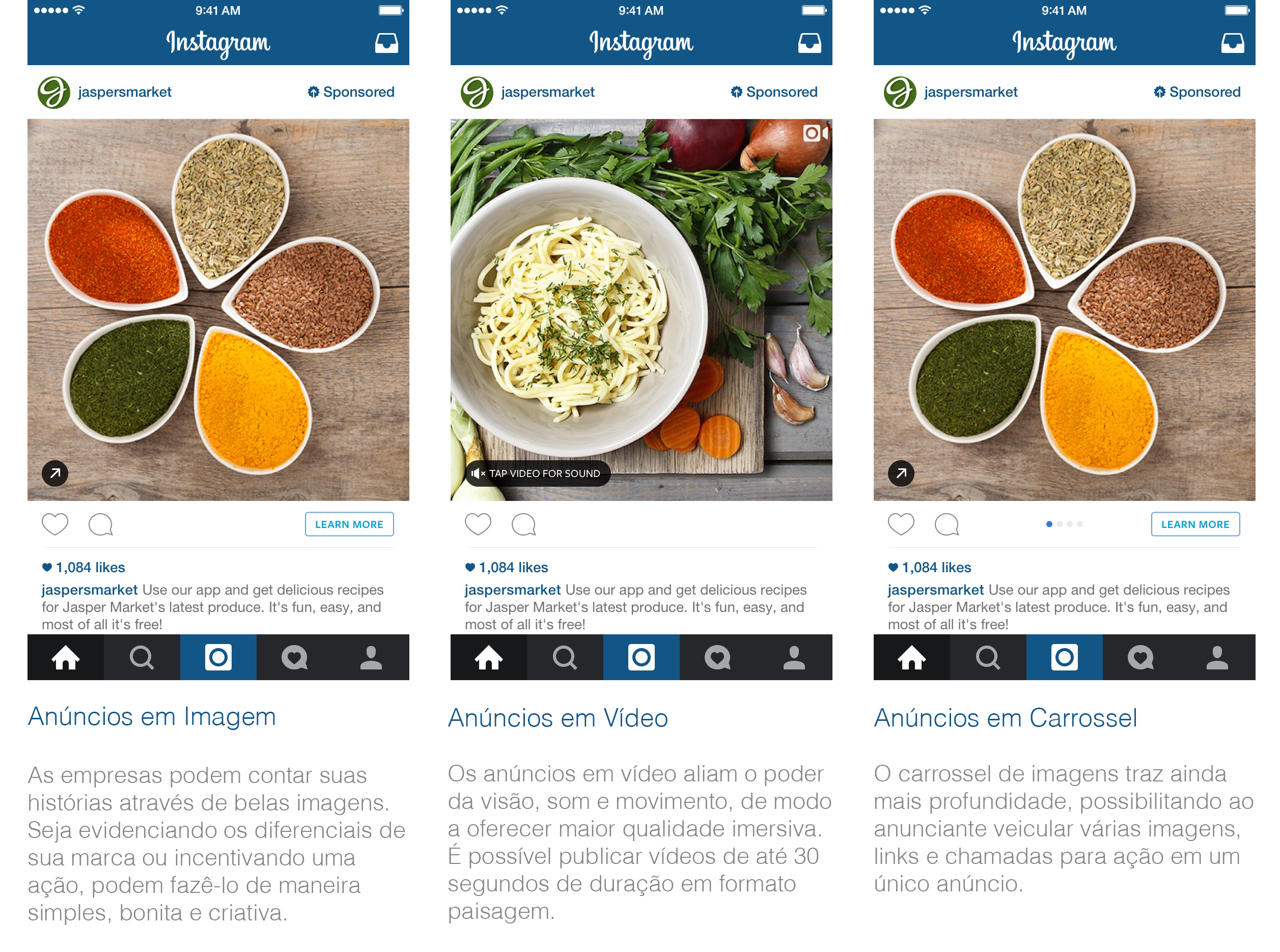 Tipos de Anúncios no Instagram
