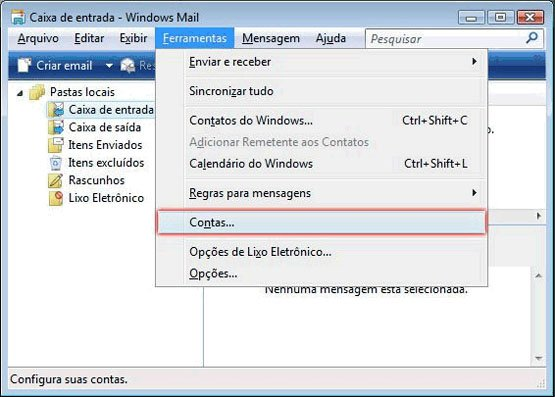 Configurar Windows Mail - Etapa 1